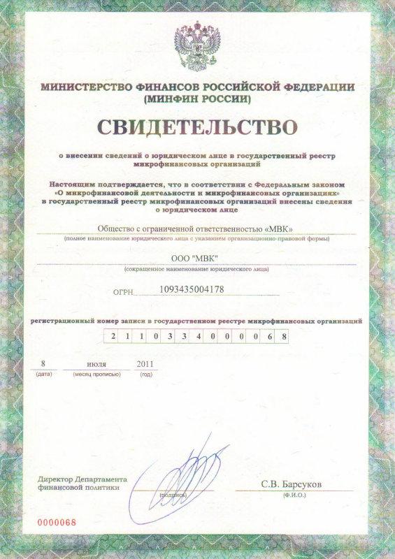 Лицензия МиниФинанс (MiniFinance)